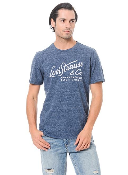Levi's® Bisiklet Yaka Baskılı Tişört Mavi